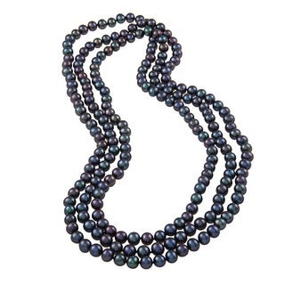 DaVonna 7-8mm Black Freshwater Pearl Endless Necklace, 64-inch