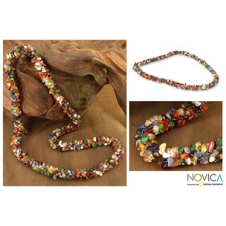 Rainbow Natural Uncut Polished Multicolor Gemstone Beads Cluster Strand Womens Long Necklace (India)