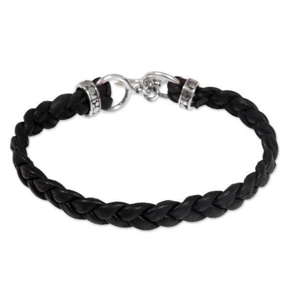 36832d5423fee Shop Braided Leather 'Time' Men's Bracelet (Indonesia) - On Sale ...