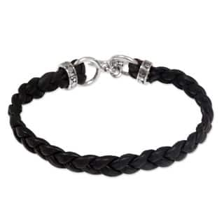 Braided Leather 'Time' Men's Bracelet (Indonesia)|https://ak1.ostkcdn.com/images/products/4712889/P12625951.jpg?impolicy=medium