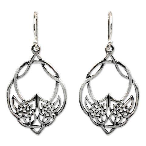 NOVICA Handmade Lotus Lace Sterling Silver Dangle Earrings