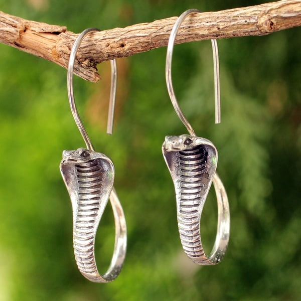 Cobra Guardian Detailed Snake Elongated Hook 925 Sterling Silver Animal Theme Handmade Artisan Womens Dangle Earrings (Thailand)