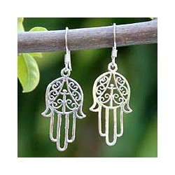 Handmade Sterling Silver 'Chimes' Dangle Earrings (Thailand)
