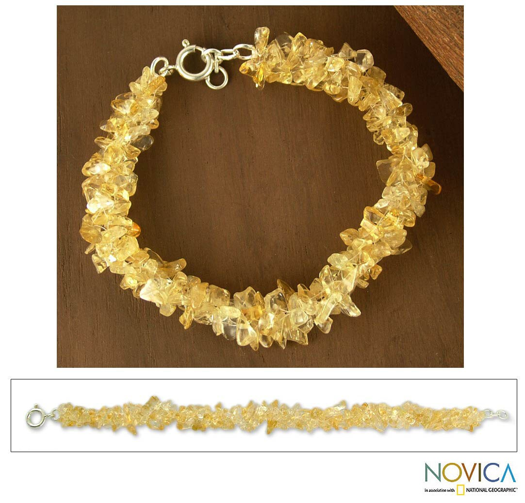 Sterling Silver 'Lemon Sugar' Citrine Beaded Bracelet (India)