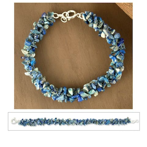 Sterling Silver 'Sea Song' Lapis Lazuli Beaded Bracelet