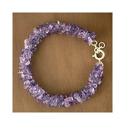 Sterling Silver 'Lovely Lilacs' Amethyst Beaded Bracelet (India)