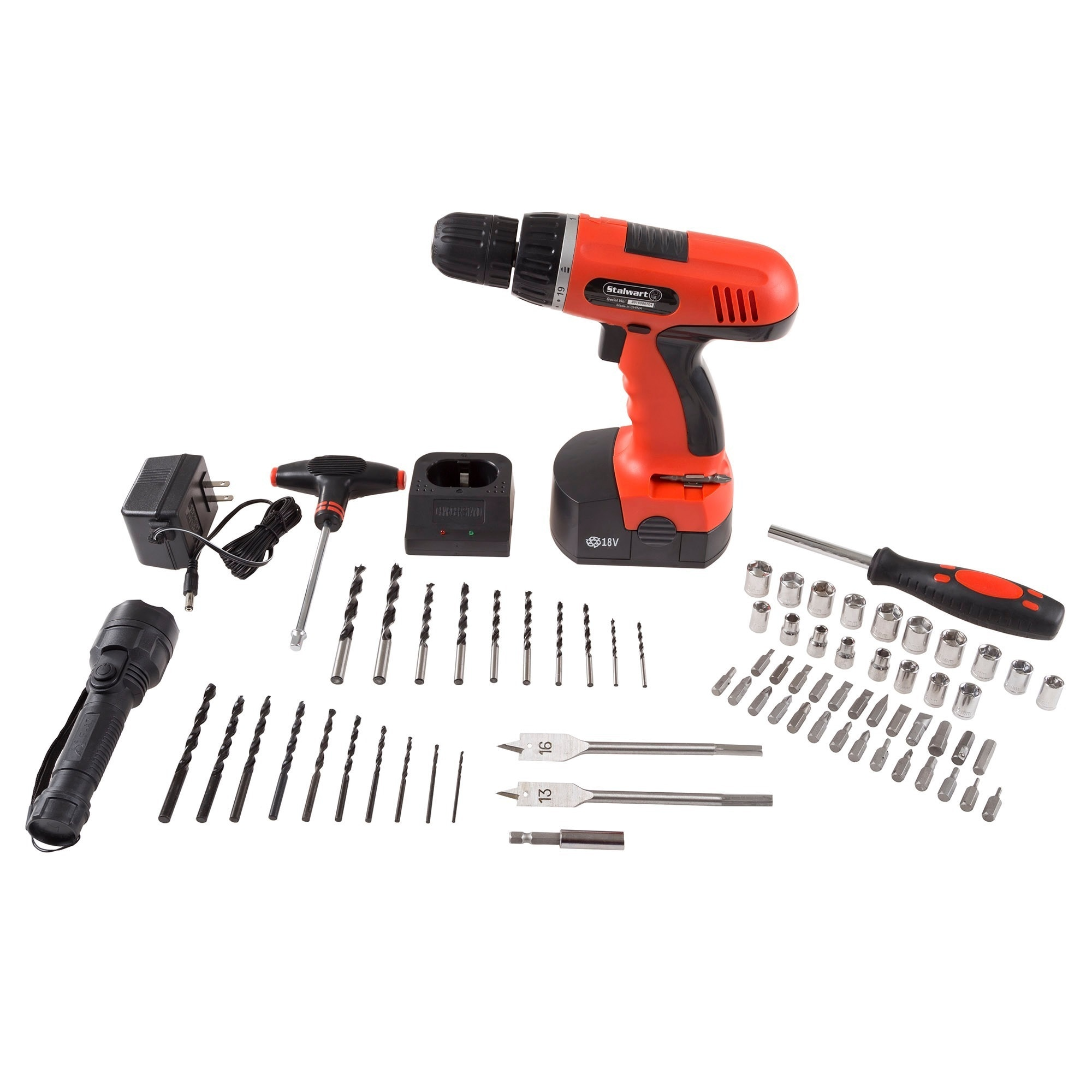 Cordless Drill Set-78 Piece Kit, 18-Volt Power Tool by Stalwart (drill)