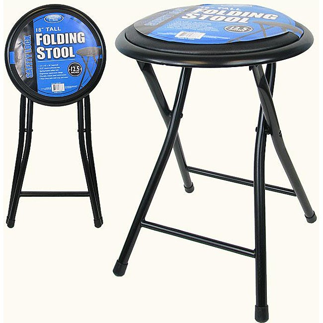 18 Inch Black Folding Stools Set Of 2 Free Shipping On