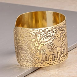Hand-crafted Nickel-plated Brass Filigree Cuff Bracelet (India) - Thumbnail 2