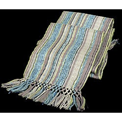 Backstrap-loomed Blue/ Grey San Juan Scarf (Guatemala) - Thumbnail 2