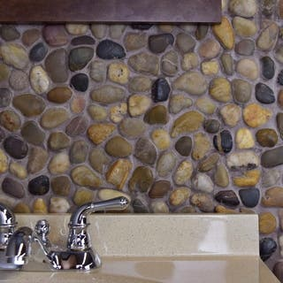 Somertile 11 75x11 75 Inch Riverbed Multi Natural Stone Mosaic Floor And Wall Tile