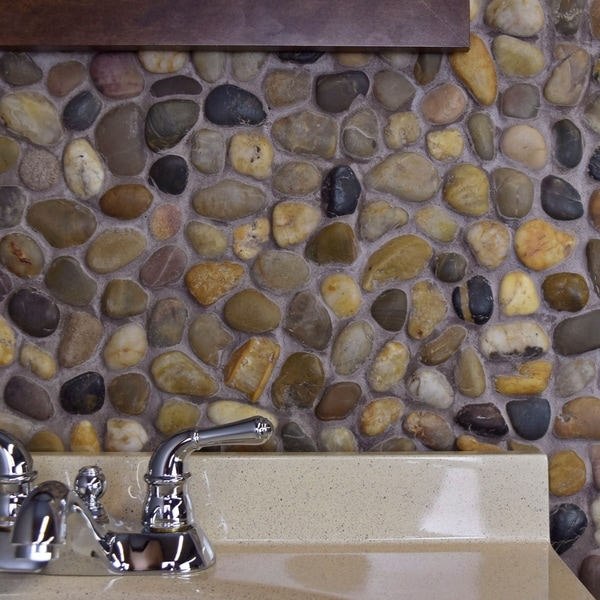 SomerTile 12x12-in Riverbed Multi Natural Stone Mosaic Tile (Pack of 10)