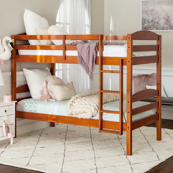 Taylor & Olive Christian Espresso Wood Twin-over-Twin Bunk Bed