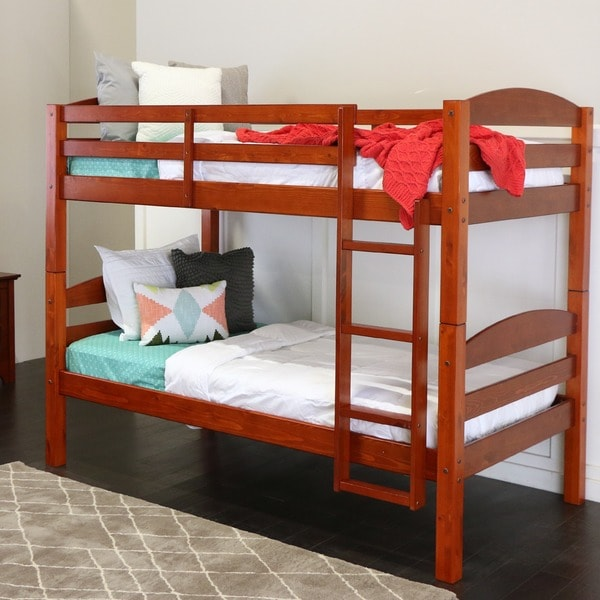 Shop Wood Twin Over Twin Bunk Bed Cherry On Sale Free Shipping