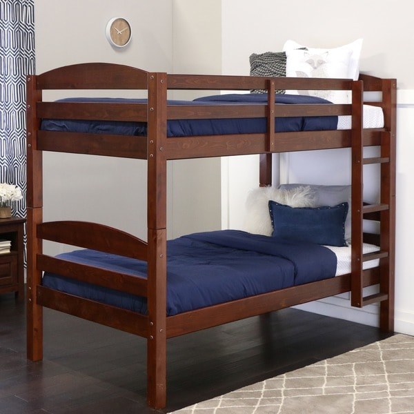 Shop Wood Twin Over Twin Bunk Bed Espresso On Sale Free
