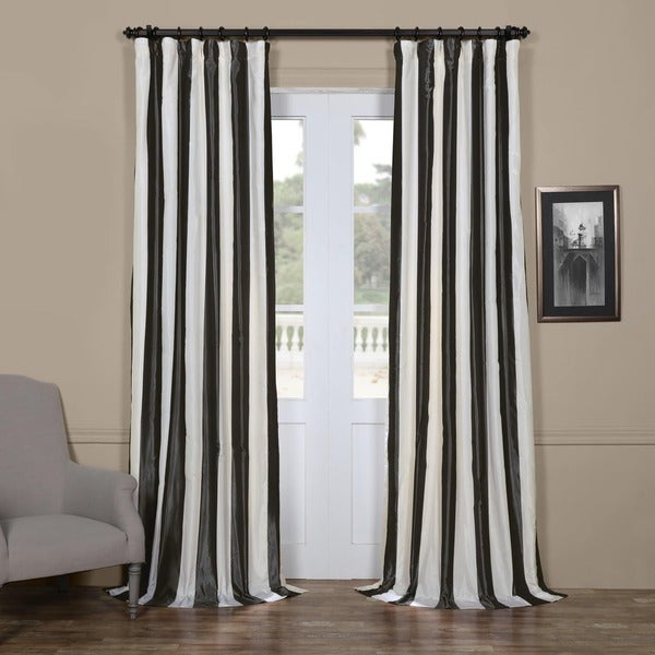 Exclusive Fabrics Signature Stripe Dark Grey/ White Faux Silk Taffeta Curtain Panel