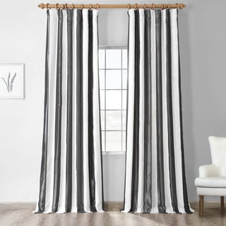 Exclusive Fabrics Signature Stripe Dark Grey/ White Faux Silk Taffeta Curtain Panel