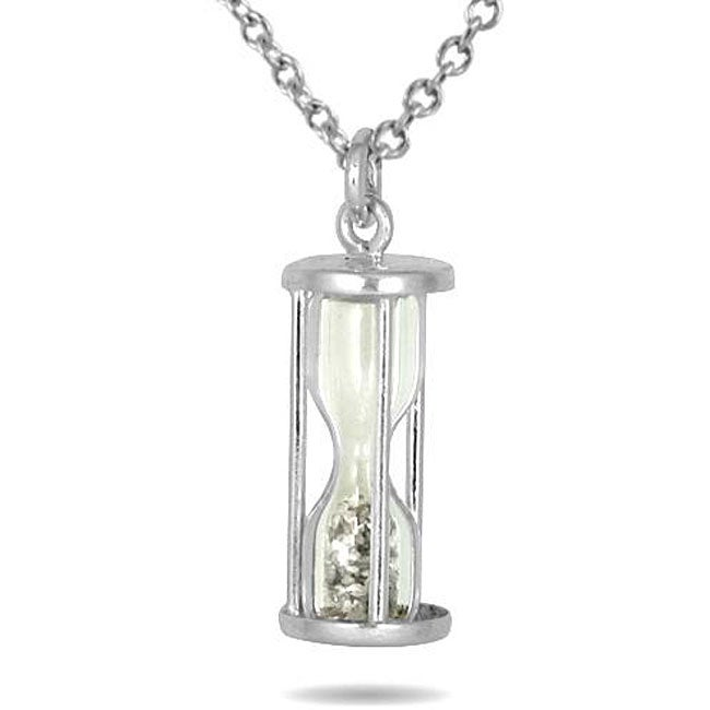 Marquee Jewels Sterling Silver 'Time in a Bottle' 1/2ct TDW Diamond Dust Necklace