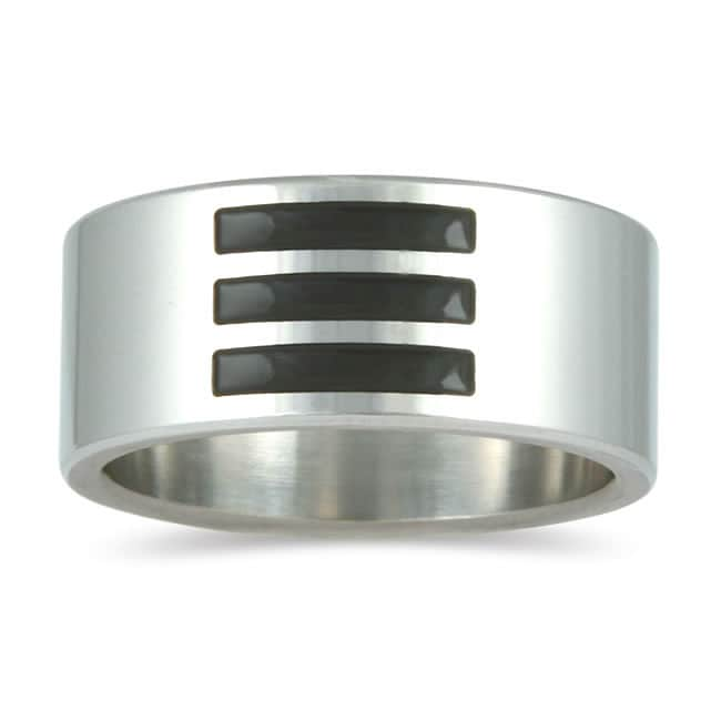 Marquee Jewels Stainless Steel Men's Black Enamel Inlay Band (10 mm)