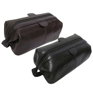 Amerileather Zip Top Leather Toiletry Bag