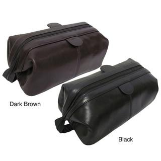 Amerileather Zip Top Leather Toiletry Bag