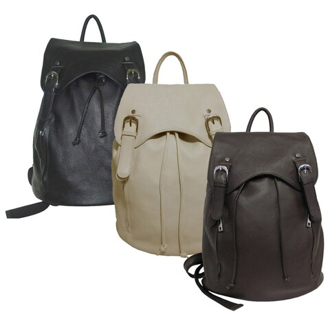 Amerileather Top-grain Cowhide Leather Clementi Drawstring Backpack