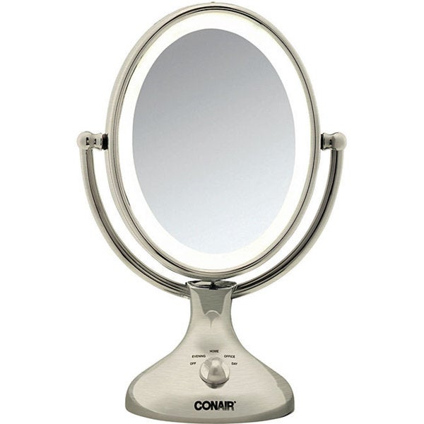 conair nickel double sided 1x 5x lighted makeup mirror free shipping. Black Bedroom Furniture Sets. Home Design Ideas