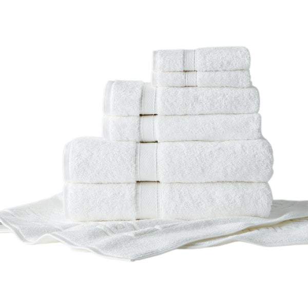 Authentic Hotel and Spa Turkish Cotton 7-piece Towel Set with Bath Mat