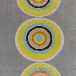 Thumbnail 2, Hand-tufted Contemporary Multi Colored Circles Geometric Vibrant New Zealand Wool Area Rug (5' x 8'). Changes active main hero.