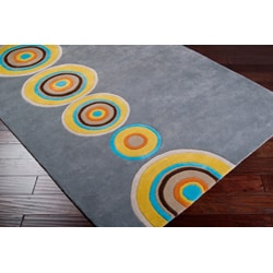 Thumbnail 3, Hand-tufted Contemporary Multi Colored Circles Geometric Vibrant New Zealand Wool Area Rug (5' x 8'). Changes active main hero.