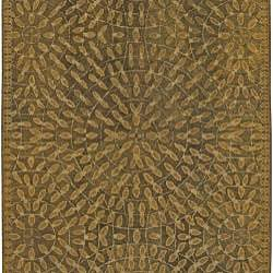 Hand-tufted Circle Leaves New Zealand Wool Rug (8' x11') - Thumbnail 1