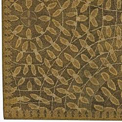 Hand-tufted Circle Leaves New Zealand Wool Rug (8' x11') - Thumbnail 2