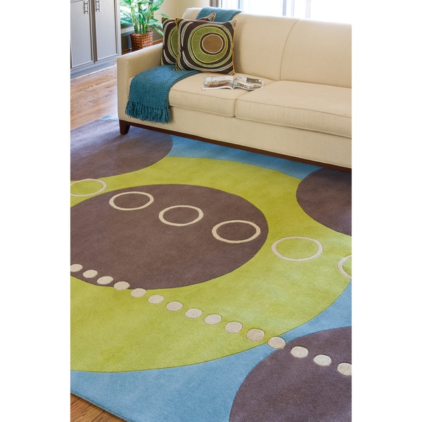 Hand-tufted Contemporary Multi Colored Geometric Circles Mayflower Wool Abstract Rug (8' x 11')