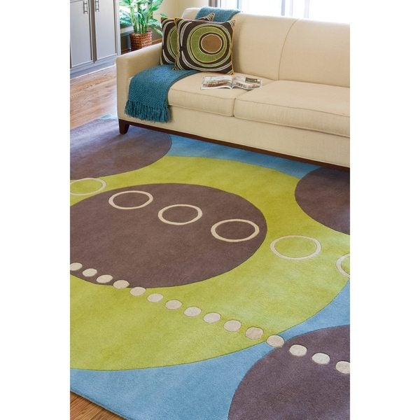 Hand-tufted Contemporary Multi Colored Geometric Circles Mayflower Wool Abstract Area Rug (8' x 11') - 8' x 11'