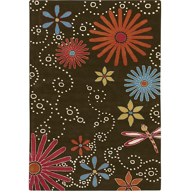 Hand-tufted Contemporary Fireworks New Zealand Wool Floral Rug (8' x 11')