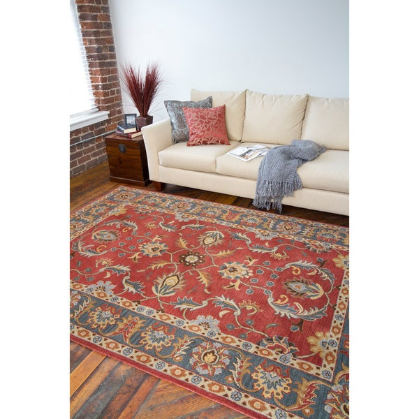 Hand-tufted Coliseum Rust Traditional Border Wool Rug (7'6 x 9'6)