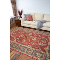 Hand-tufted Coliseum Rust Traditional Border Wool Area Rug (7'6 x 9'6) - 7'6 x 9'6
