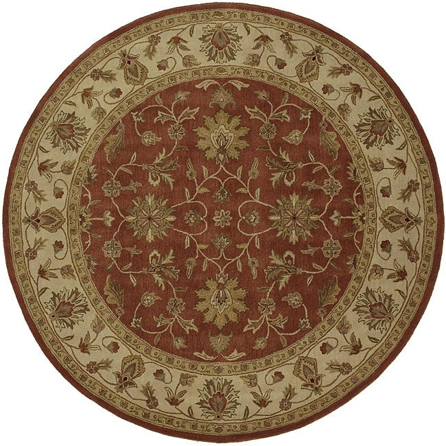 Hand-Tufted Camelot Oriental Wool Rug (8' Round), Red, Si...