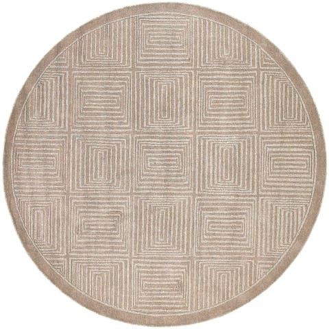 "Hand-crafted Solid Beige Geometric Manhattan Wool Area Rug - 7'9"" Round - 7'9"" Round"