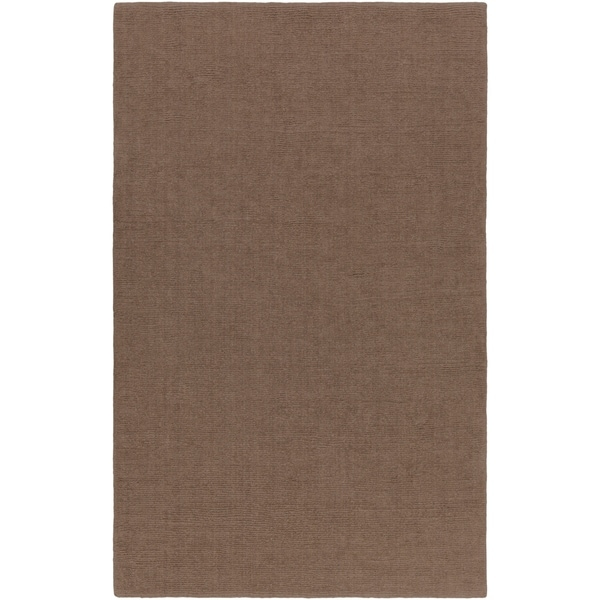 Hand-crafted Solid Brown Casual Lyan Wool Area Rug - 8' X 11'