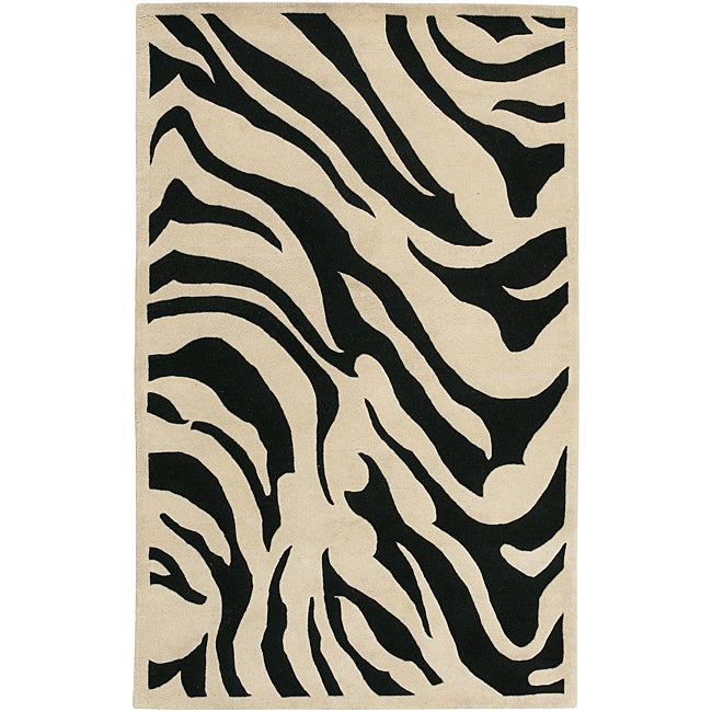 Hand-tufted Black/White Zebra Animal Print New Zealand Wool Rug (3'3 x 5'3)
