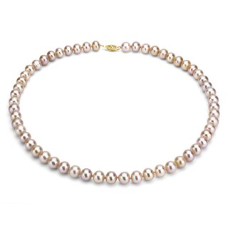 DaVonna 14k Gold Pink FW Pearl 16-inch Necklace (8-9 mm)