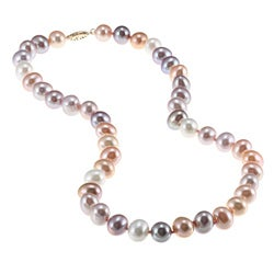 DaVonna 14k Gold Multi Pink FW Pearl 16-inch Necklace (8-9 mm)