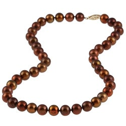 DaVonna 14k Gold Chocolate FW Pearl 16-inch Necklace (8-9 mm)