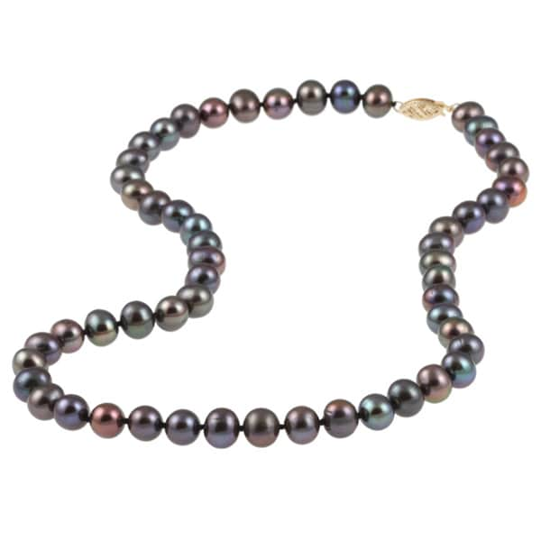 DaVonna 14k 8-9mm Black Freshwater Cultured Pearl Strand Necklace (16-36 inches)