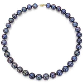 DaVonna 14k Gold 8-9mm Black Freshwater Cultured Pearl Strand Necklace