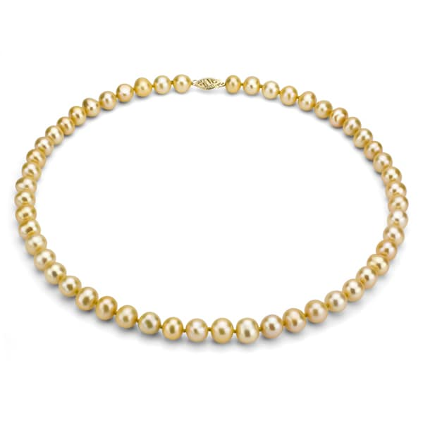 DaVonna 14k 8-9mm Gold Freshwater Cultured Pearl Strand Necklace (16-36 inches)