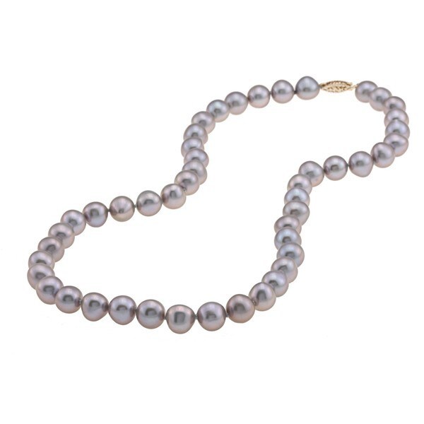 DaVonna 14k 8-9mm Grey Freshwater Cultured Pearl Strand Necklace (16-36 inches)