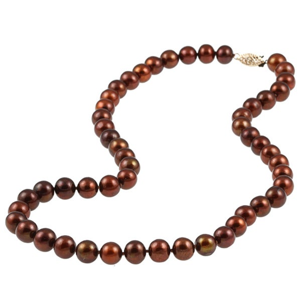 DaVonna 14k 8-9mm Chocolate Freshwater Cultured Pearl Strand Necklace (16-36 inches)