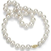 DaVonna 14k Gold High Luster White FW Pearl 20-inch Necklace (8-9 mm)